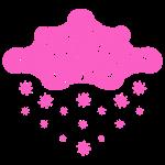 nuage rose et flocons vacances d'hiver