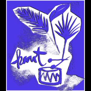jungle drum 80s papercut blue