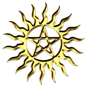 Pentagramm, Blazing Star, DD, gold, Stern der Mag
