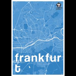 Frankfurt Hipster Stadt Karte blau