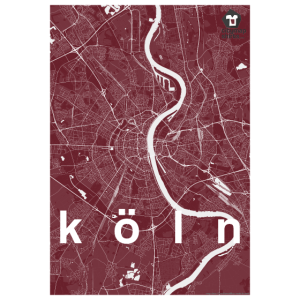 Köln Hipster Stadt Karte rot