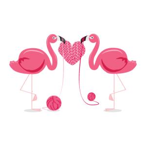 Flamingo Stricken Herz