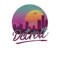 Detroit Michigan Vintage 80s Style Skyline Sunset