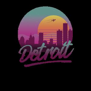 Detroit Michigan Vintage 80s Style Skyline Sunset