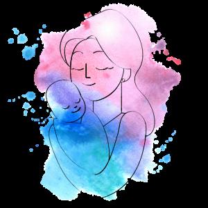 Mutter mit Baby Kind Wasserfarbe Rosa Blau