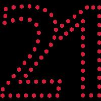 Pünktchen Zahl 21 / dotty number 21 (1c)