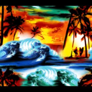 Sonnenuntergang am Strand mit Palmen und Surfern
