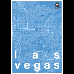 Las Vegas Hipster Stadt Karte blau