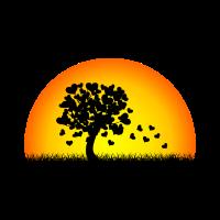 Baum aus Herzen im Sonnenuntergang