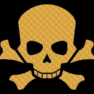 Totenkopf Totenschädel Skull goldener Glitzer gold