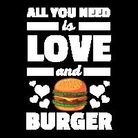Lustig alles, was Sie brauchen, ist Liebe und Burger T-Shirt