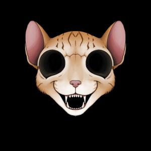 Grinsender Horror-Katzen-Schädel