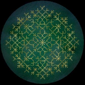 Mandala | Motiv 4 | Grün-Gold | rund