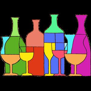 Trinkglastisch, der durstige Abendessen-Glasflaschen isst