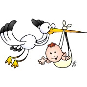 The stork brings the baby.