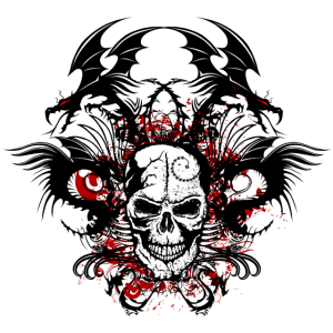 Kopf des Schädel-chinesischen Fans des Todesdrache Stammes- Schädels
