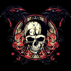 Kopf des Todes Drachenkran Tribal Skull chinesischen Fan