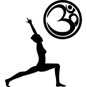 Der Held Yoga Asana Warrior mit OM Symbol Cool