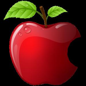 Symbol roter Apfel mit 2 Blätter glänzend