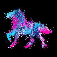 Pferd Wasserfarbe Rosa Blau