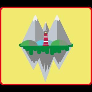 Berglandschaft mit Leuchtturm