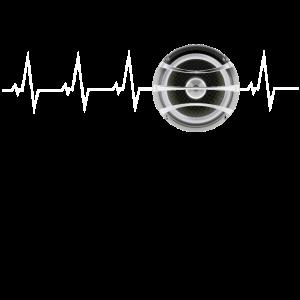 Subwoofer Heartbeat, Hifi-Shirt für Leute mit Bass