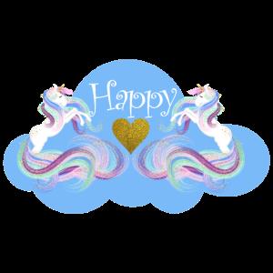 Einhorn Happy zwei Einhörner Herz Wolke