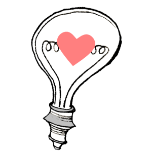Glühbirne mit Herz