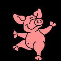 Kleines tanzendes Schwein
