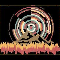 Konzentrischer Kreis mit Bergen und Wald