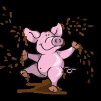 Glückliches Schweinchen im Matsch