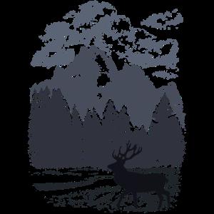 Bergwald und Rothirsch (Blau)