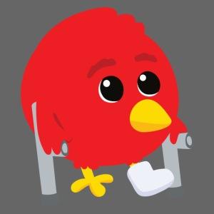 Oiseau rouge blessé