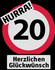20. Geburtstagsshirt: Hurra 20. Geburtstag - Herzlichen Glückwünsch