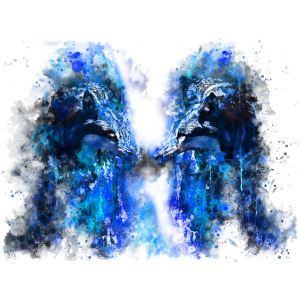 gxp woelfe hassen montag splatter watercolor blau