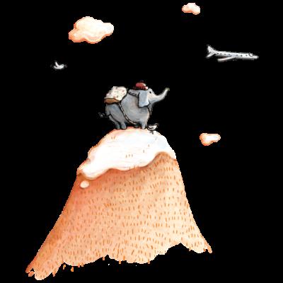Fernweh - Ein Elefant schaut in die Ferne, in Abendstimmung. Er steht auf der Bergspitze und ein Flugzeug fliegt vorbei… - süß,niedlich,Wandern,Travel,Reisen,Reisefieber,Kinderbuch,Kind,Ina Worms,Illustration,Geschenk,Fernweh,Elefant mit Rucksack,Elefant,Bergsteigen,Bergspitze,Berg