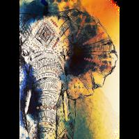Elefant bunt gezeichnet ausgefranst