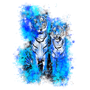 gxp tiger paar wasserfarbe spritzer blau