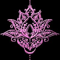 Lotus, Lotusblume mit Mond. Yoga. Pink.