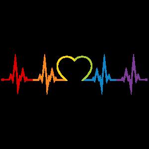 Herzschlag Regenbogen Herz LGBT Liebe bunt CSD