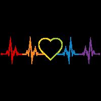 Herzschlag Herz Regenbogen LGBT CSD Liebe bunt