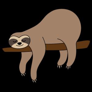 Faultier auf Ast Sloth braun lustig faul schlafen