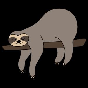 Faultier auf Ast Sloth grau lustig faul schlafen