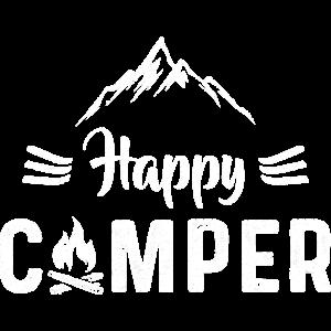 Happy Camper - Camping Shirt Geschenk Lagerfeuer