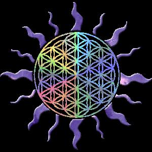 Blume des Lebens Sonne Mandala Regenbogen