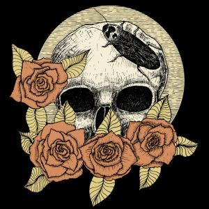 Rose et tête de mort