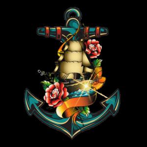 Anker Tattoo Schiff Rose Meer