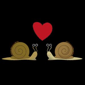 zwei verliebte Schnecken mit Herzchen