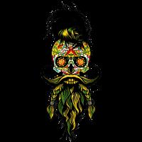 Kopf des mexikanischen Hipsters des Todes Bart Bart Bart