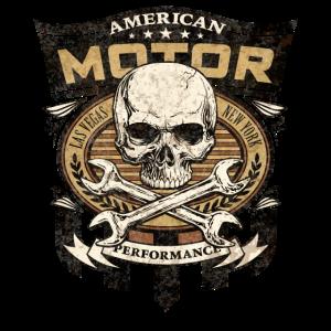 Biker Shirt American motor performance skull